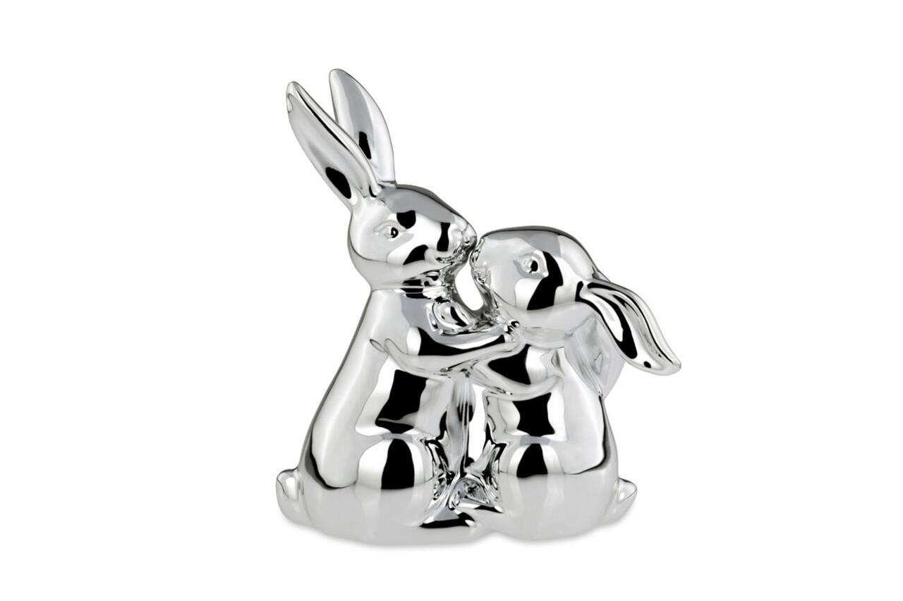 Decoratiune Kissing Rabbit, Hermann Bauer, 13x7x16 cm, portelan, argintiu