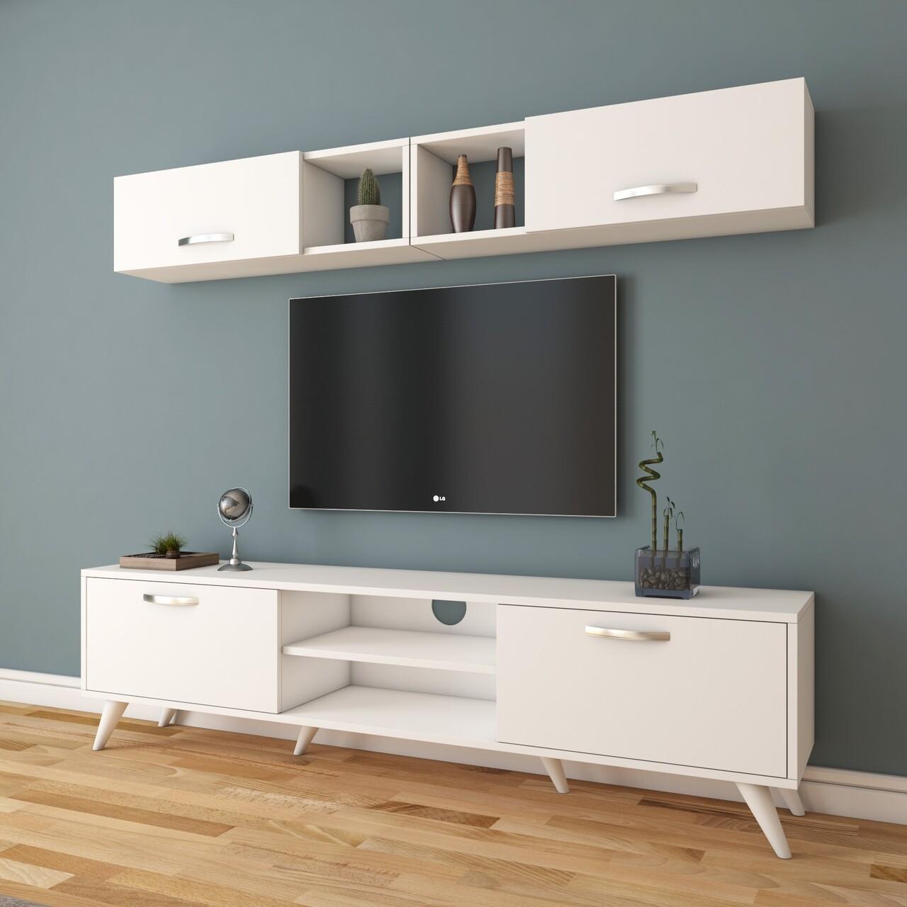 Comoda TV cu 2 rafturi de perete M4 - 234, Wren, 180 x 35 x 48.6 cm/90 cm, white