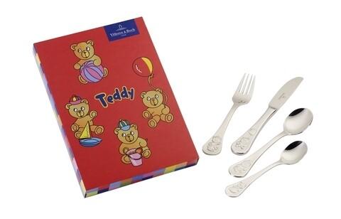 Set tacamuri copii 4 piese, Villeroy & Boch, Teddy Children Cutlery, inox 18/10