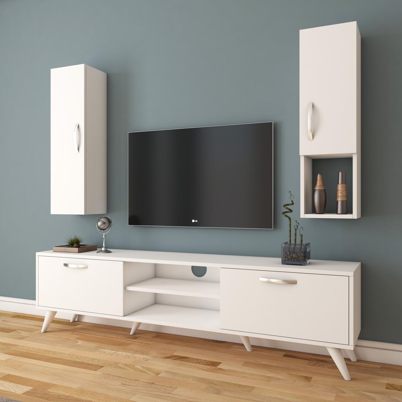 Comoda TV cu 2 cabinete M21 - 271, Wren, 180 x 35 x 48.6 cm/90 cm, white