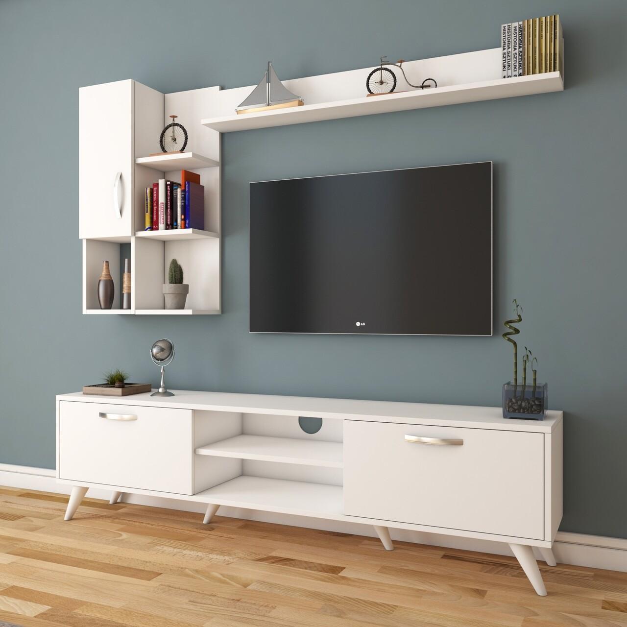 Comoda TV cu 2 rafturi de perete si cabinet M33 - 293, Wren, 180 x 35 x 48.6 cm/90 cm/133 cm, white