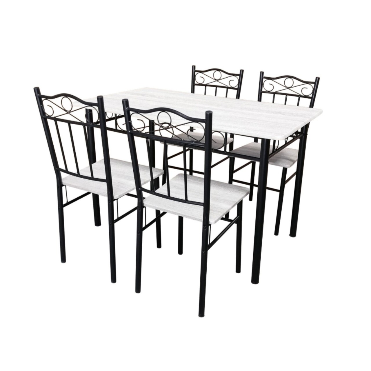 Set dining Bedora Asador, masa cu 4 scaune, Nuanta Mesteacan Alb