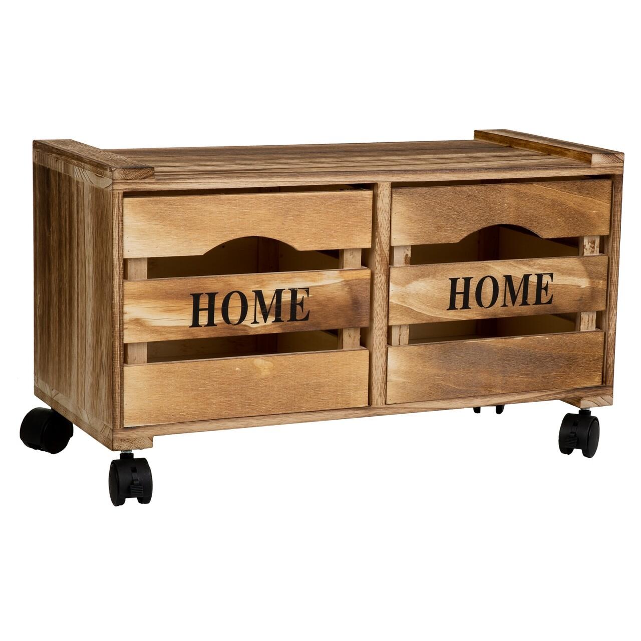 Comoda cu 2 sertare si roti Home, Creaciones Meng, 55x25x31.5 cm, lemn de paulownia/MDF