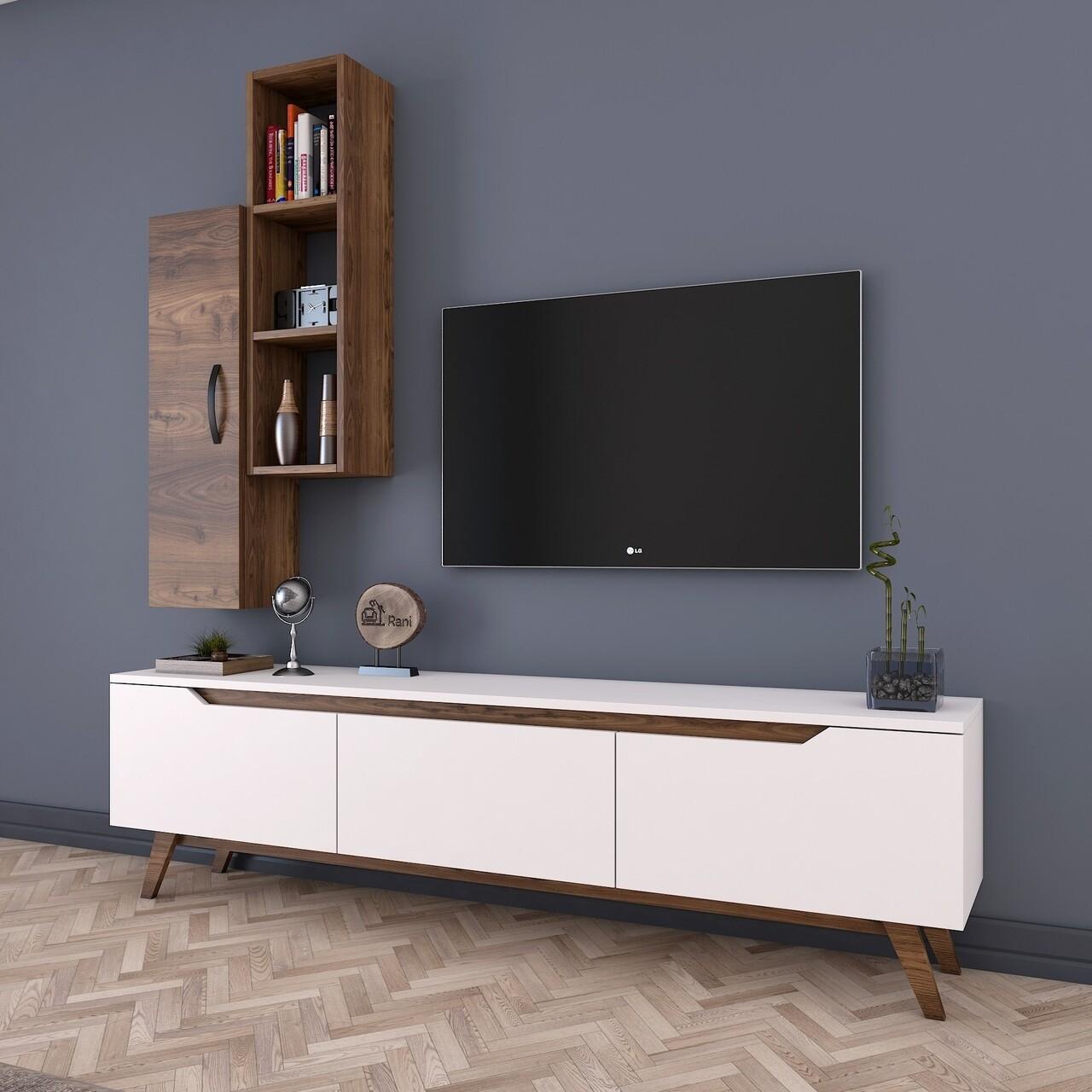 Comoda TV cu raft de perete si cabinet M1 - 796, Wren, 180 x 35 x 48.6 cm/90 cm, white/walnut