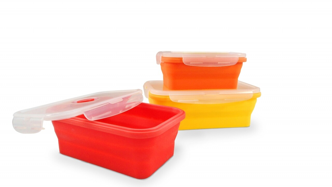 Set 3 cutii alimentare pliabile din silicon Jocca