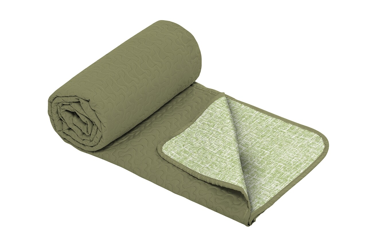 Cuvertura matlasata cu 2 fete Alcam, microfibra, 210x220 cm, Green Jeans