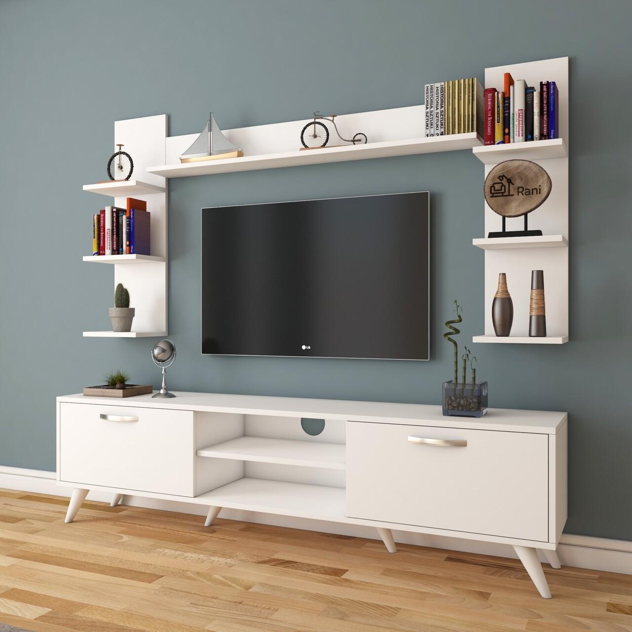 Comoda TV cu 3 rafturi de perete M23 - 275, Wren, 180 x 35 x 48.6 cm/90 cm/133 cm, white
