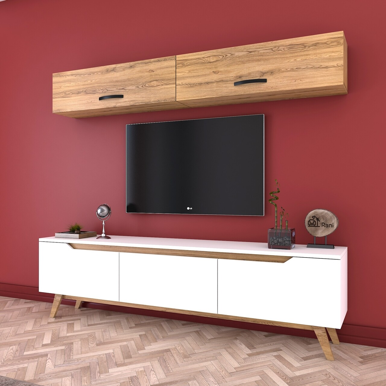 Comoda TV cu 2 rafturi de perete M19 - 414, Wren, 180 x 35 x 48.6 cm/90 cm, white/walnut