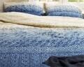 Lenjerie de pat pentru doua persoane Indigo Knit Blue, Primaviera Deluxe, 100% bumbac