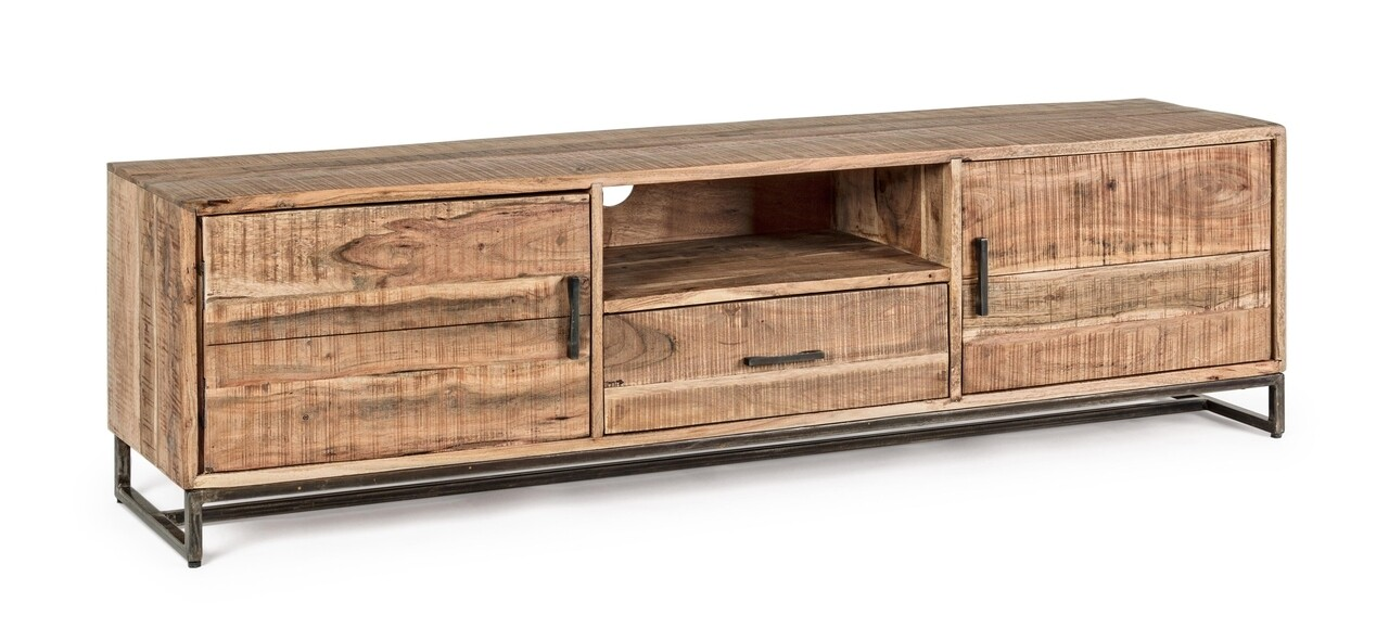 Comoda TV Elmer, Bizzotto, 175 x 40 x 50 cm, lemn de salcam/otel