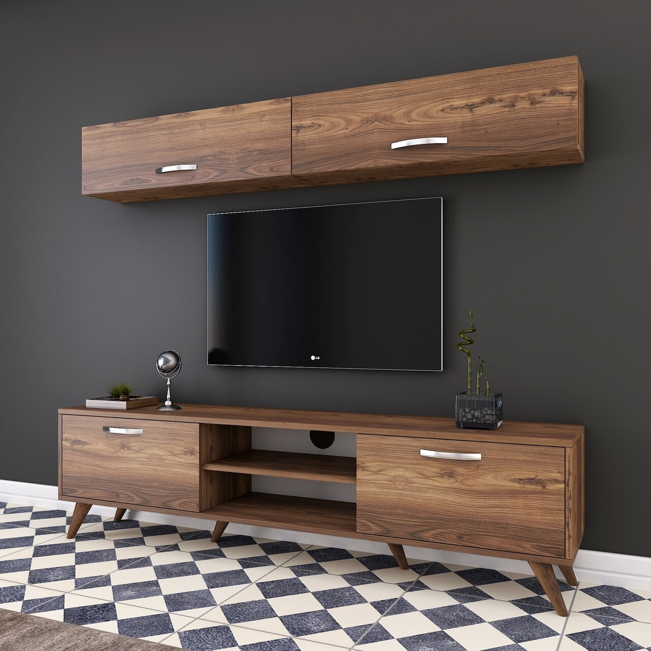 Comoda TV cu 2 rafturi de perete M19 - 268, Wren, 180 x 35 x 48.6 cm/90 cm, walnut