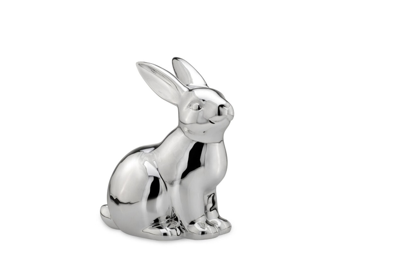 Decoratiune Rabbit, Hermann Bauer, 16x11x18 cm, portelan, argintiu