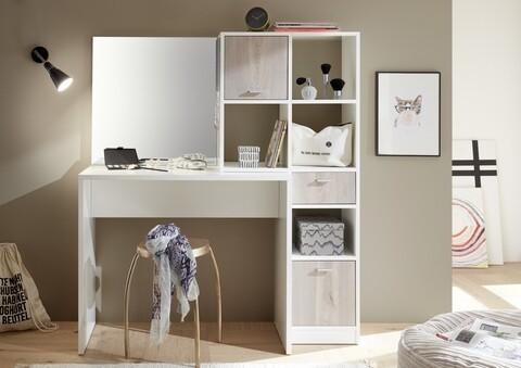 Birou Vanity cu oglinda si sertare, Shape, Sonoma, 122 x 137 x 40 cm, PAL, alb/bej