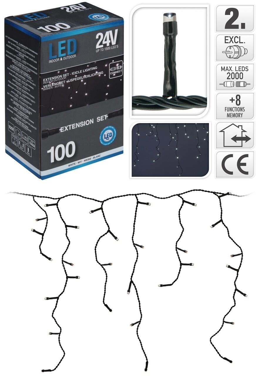 Instalatie de Craciun, 100 LED-uri, lumina alba