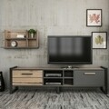 Comoda TV cu raft de perete Leno, Maison in Design, 184 x 39 x 45 cm, natural/antracit