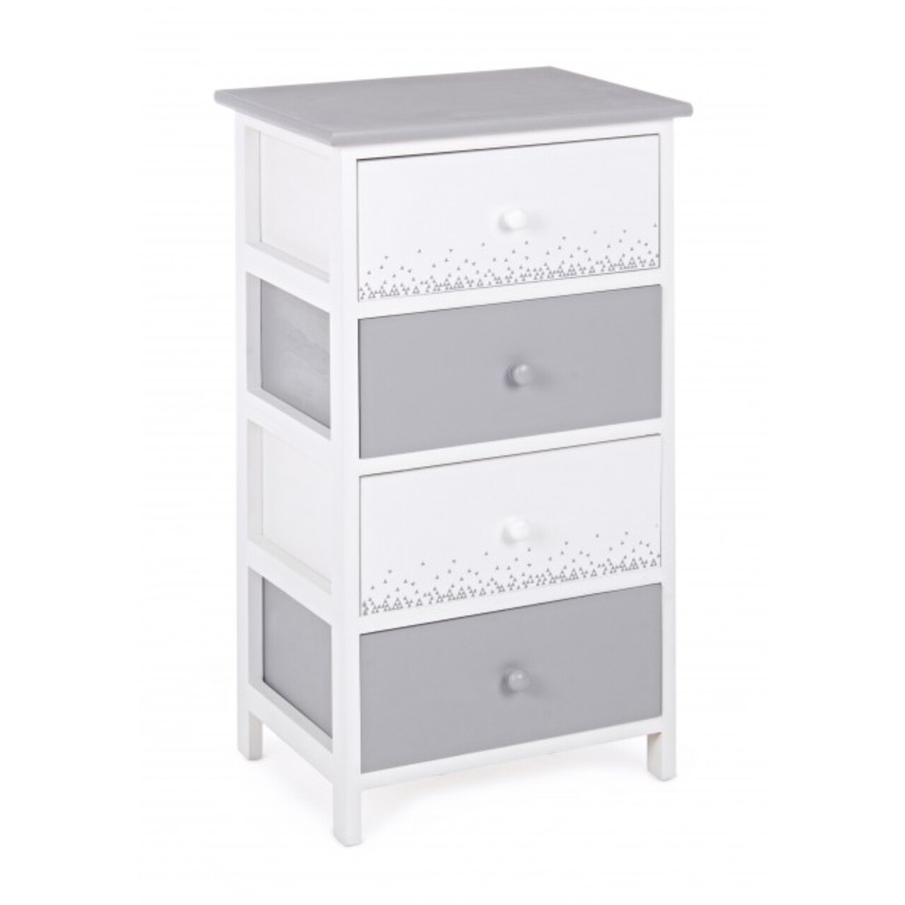 Comoda cu 4 sertare, Ally White Grey, Bizzotto, 40x29x73 cm, lemn de paulownia
