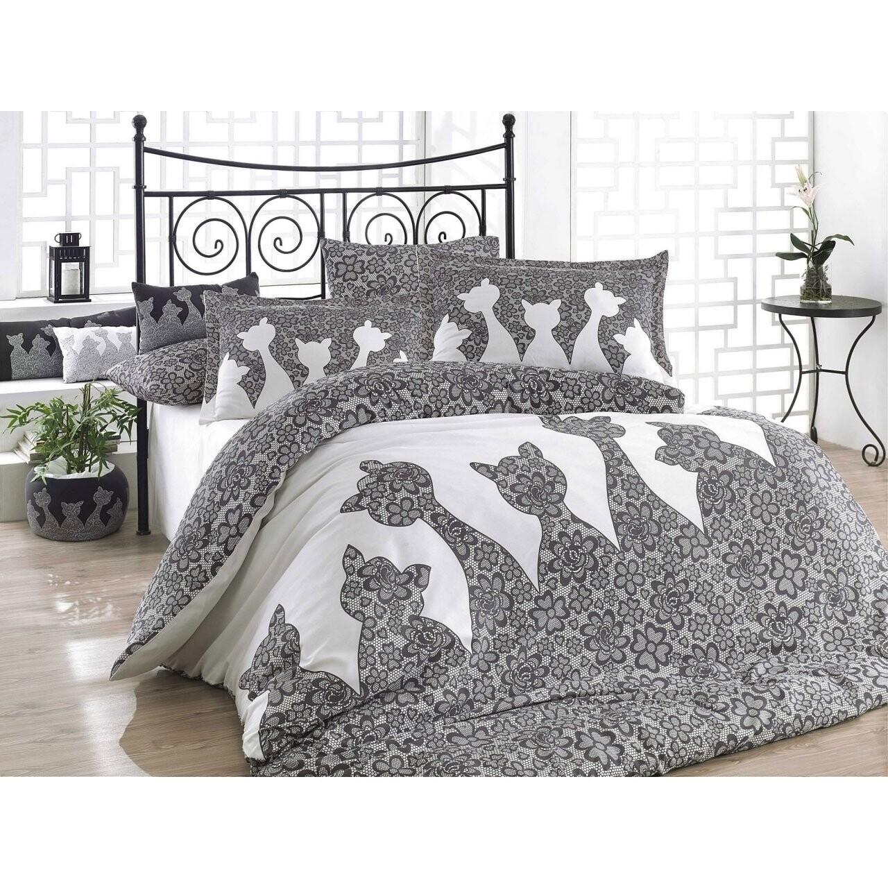 Lenjerie de pat pentru 2 persoane Jazz  Black, 100% bumbac poplin