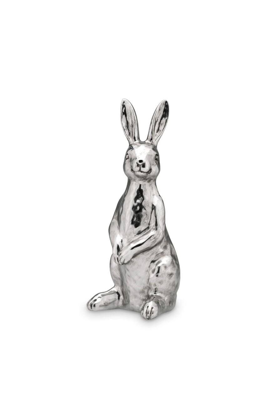 Decoratiune Rabbit, Hermann Bauer, 13x12.3x30 cm, argintiu