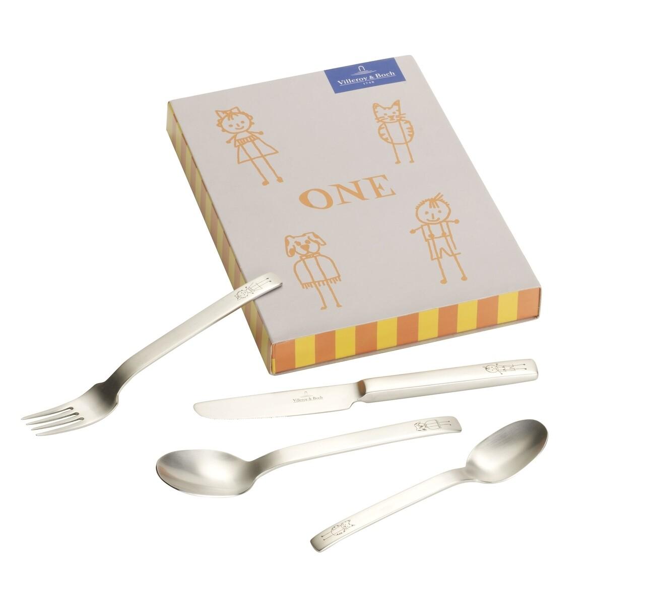 Set tacamuri pentru copii 4 piese, Villeroy & Boch, One Children, inox 18/10 periat