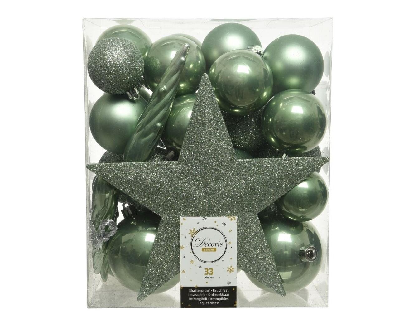 Cutie cu 33 globuri asortate si varf de brad Star Green, Decoris, plastic, verde