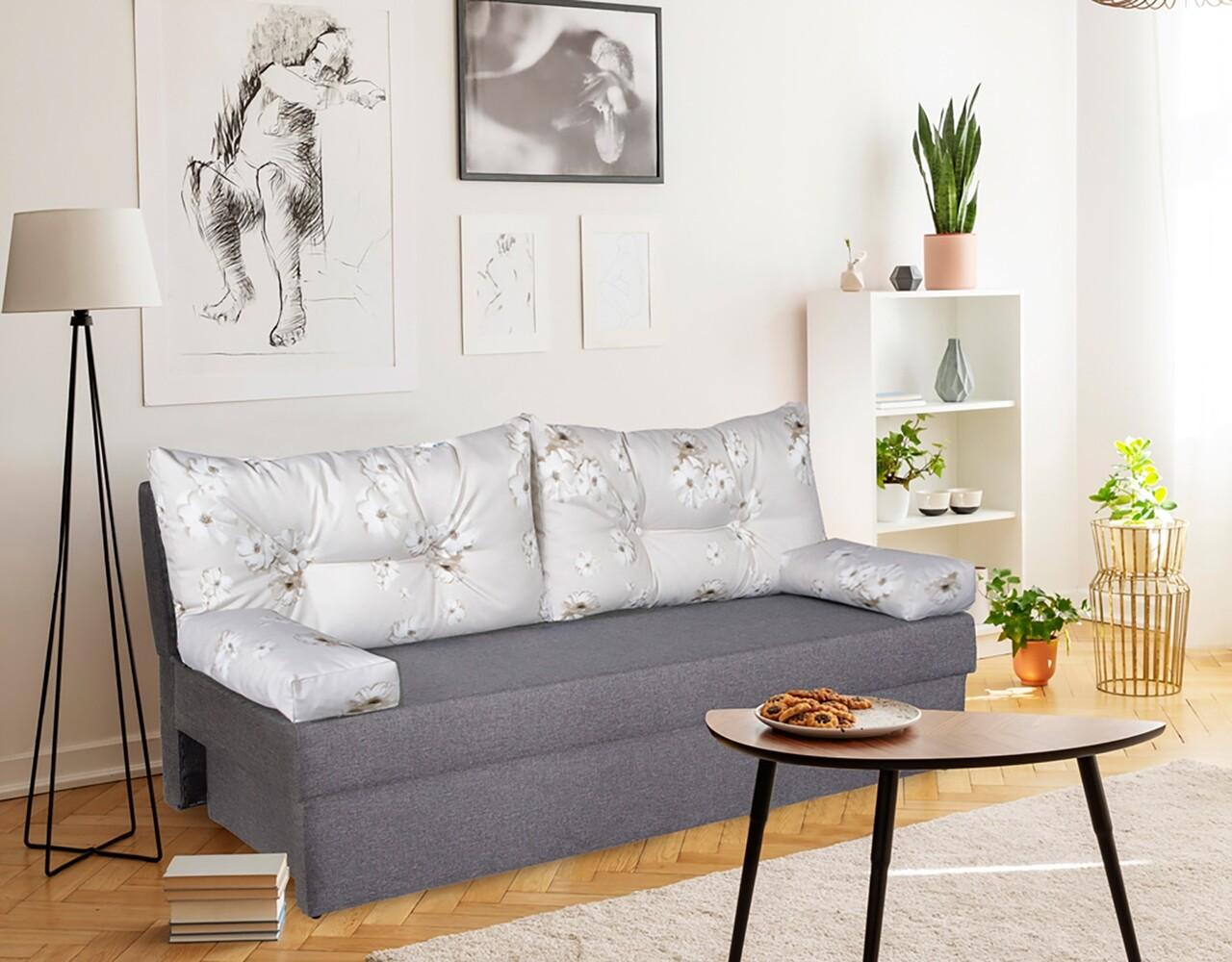 Canapea extensibila Alfi Grey Daisies Flower 192 x 80 x 77 cm + lada de depozitare