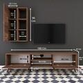 Comoda TV cu raft de perete si cabinet M37 - 302, Wren, 180 x 35 x 48.6 cm/90 cm, walnut