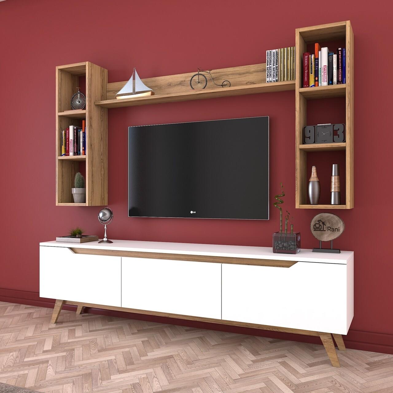 Comoda TV cu 3 rafturi de perete M5 - 383, Wren, 180 x 35 x 48.6 cm/90 cm/133 cm, white/walnut