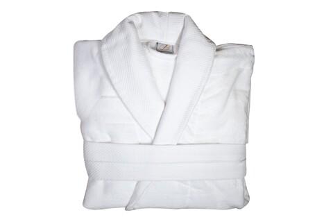 Halat de baie, Boutique Luxury, marime universala, 100% bumbac velur + frotir, 420 gr/mp, alb