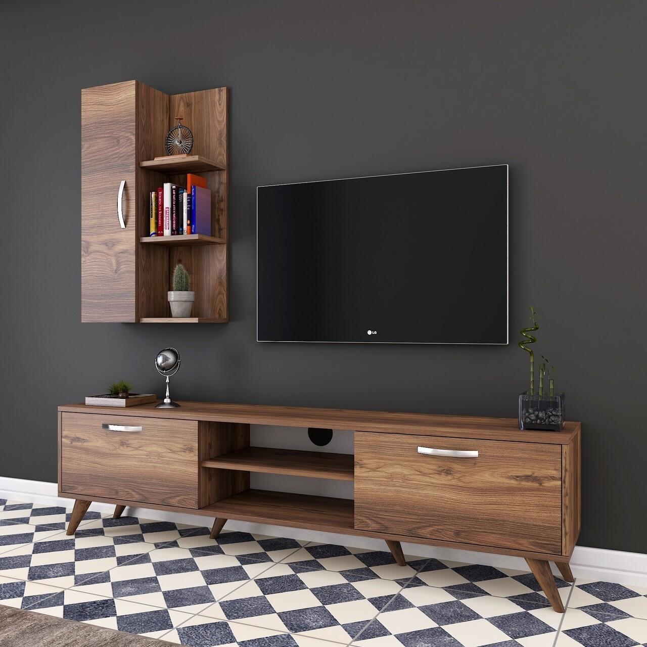 Comoda TV cu raft de perete si cabinet M47 - 321, Wren, 180 x 35 x 48.6 cm/90 cm, walnut