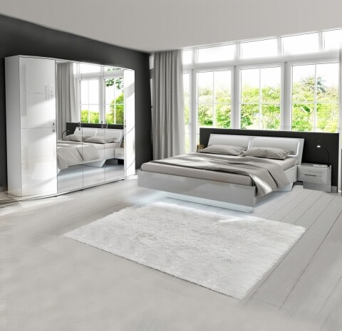 Mobilier dormitor Klara, Bedora, 1 dulap, 1 pat, 2 x noptiera