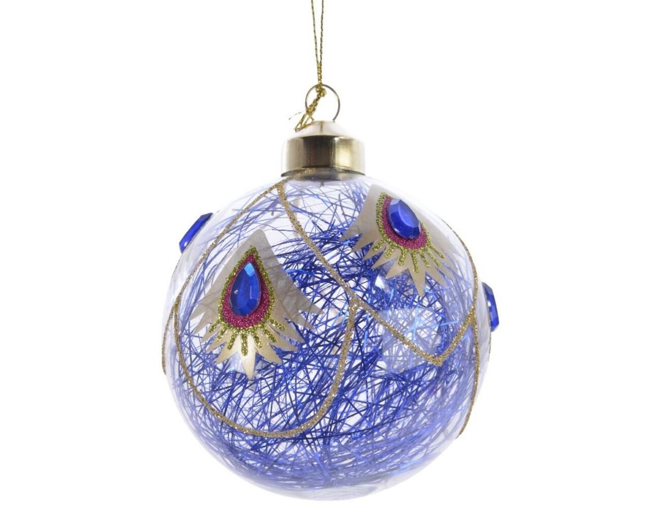 Set 3 globuri Peacock lametta gem, Decoris, Ø8 cm, sticla, albastru