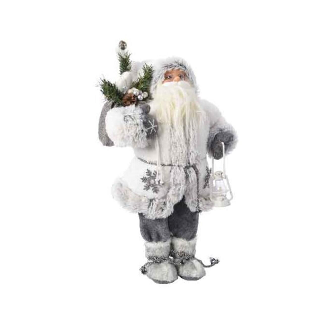 Decoratiune Santa w snowflake, Decoris, H30 cm, poliester, alb