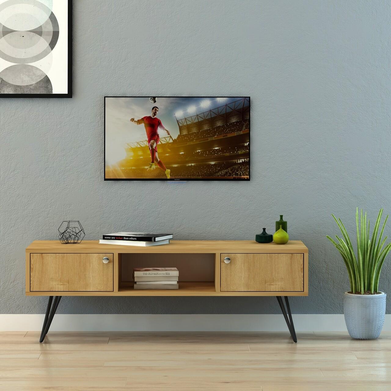 Comoda TV FLY170022, Gauge Concept, 120x40x40 cm, PAL, stejar/negru