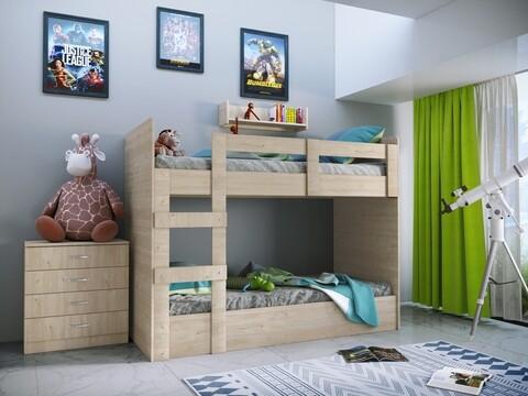 Mobilier dormitor Junior Kids, Pat etajat, Bedora, City 5015, PAL, sonoma