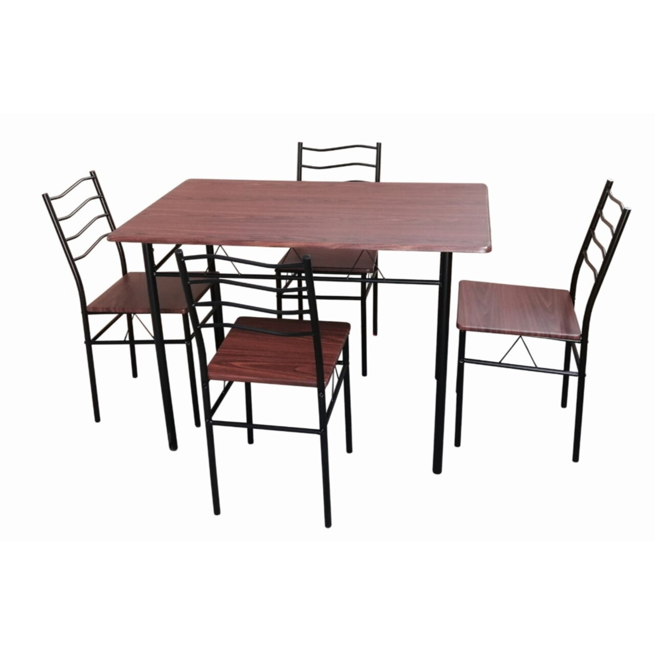 Set dining Bedora Mang, masa cu 4 scaune, Nuanta Cires