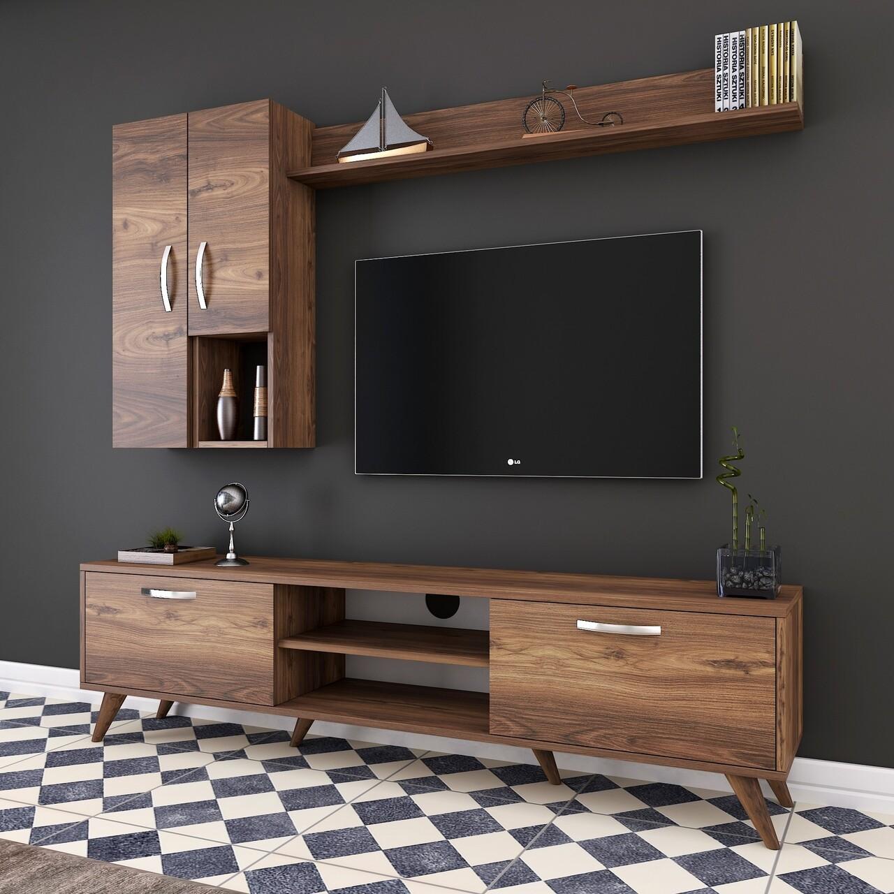 Comoda TV cu raft de perete si 2 cabinete M34 - 296, Wren, 180 x 35 x 48.6 cm/90 cm/133 cm, walnut