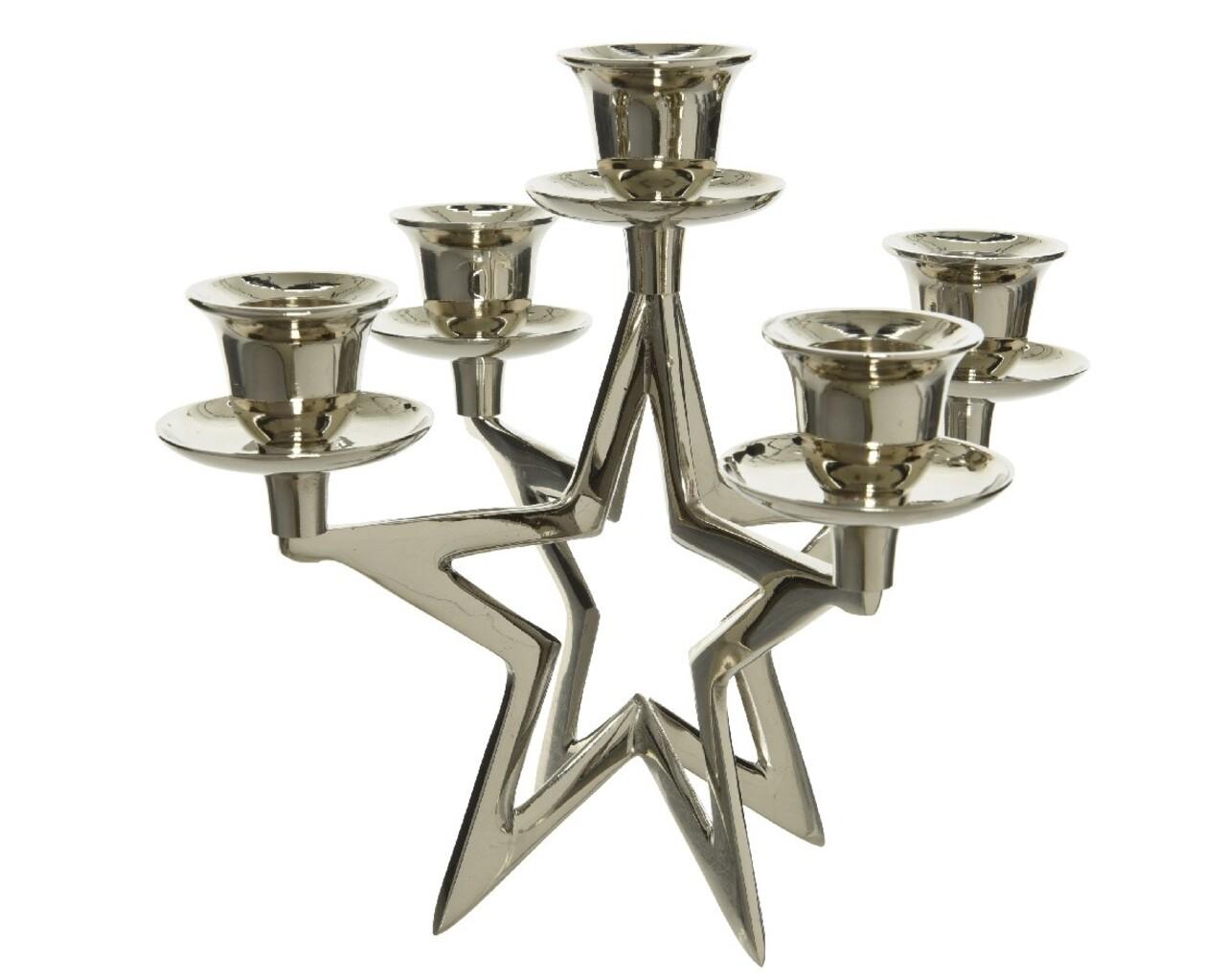 Suport pentru lumanari Star, Decoris, 9x18.5x16 cm, alama, argintiu