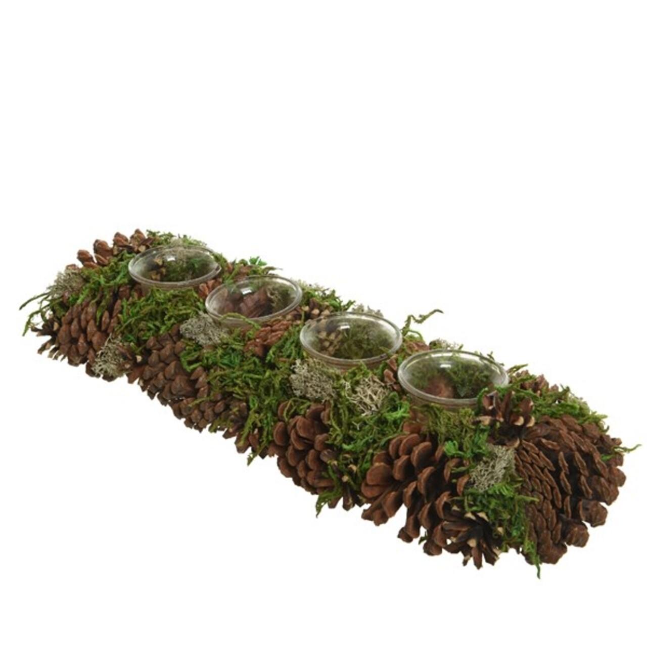 Decoratiune cu 4 suporturi pentru lumanari Pinecone w moss, Decoris, 15x45x9 cm,verde/maro