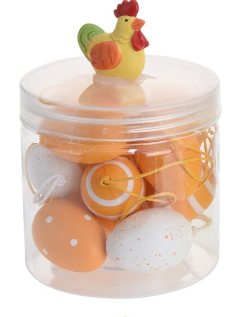 Set 12 oua decorative Easter Egg, polipropilena, portocaliu