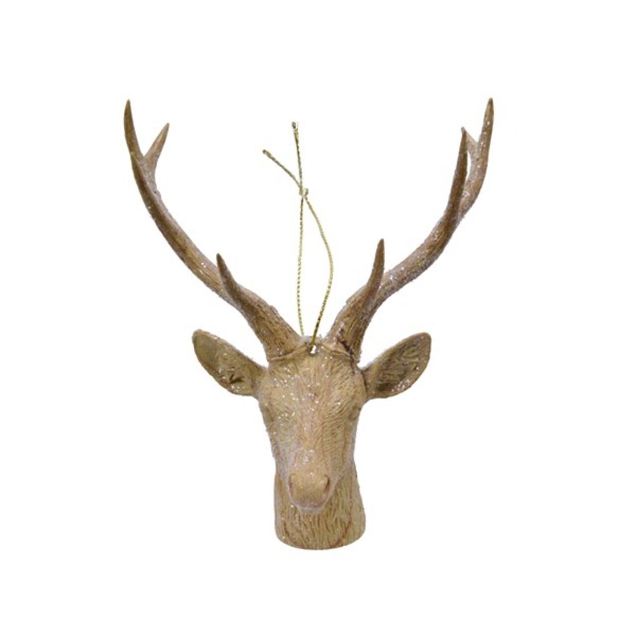 Glob Deer head, Decoris, 8.5x10x13.5 cm, plastic, maro