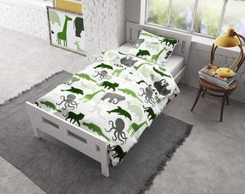 Lenjerie de pat pentru o persoana, Small Dino Green, Royal Textile, Flannel