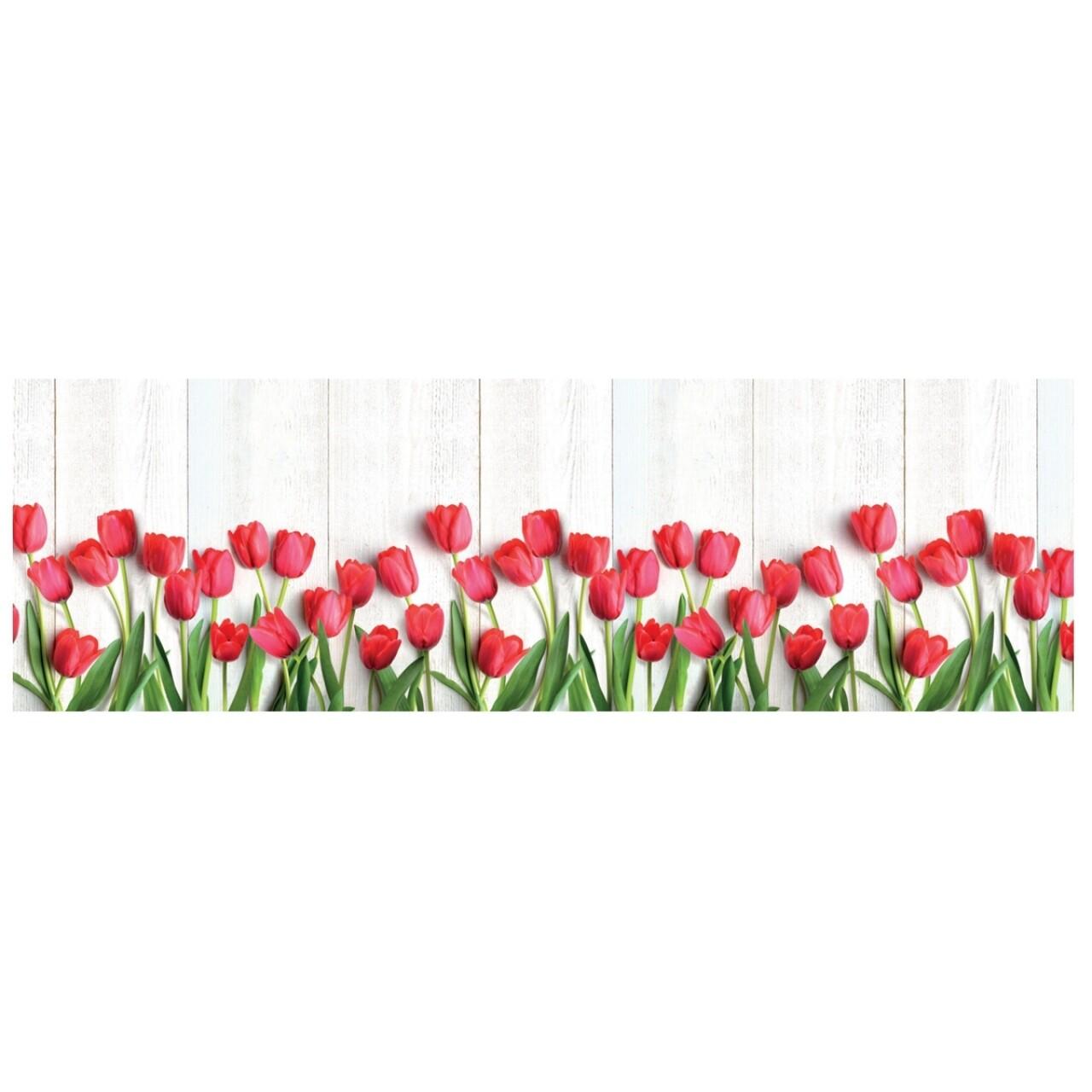 Covor rezistent Webtappeti Tulipani 58 x 140 cm, alb/verde/rosu