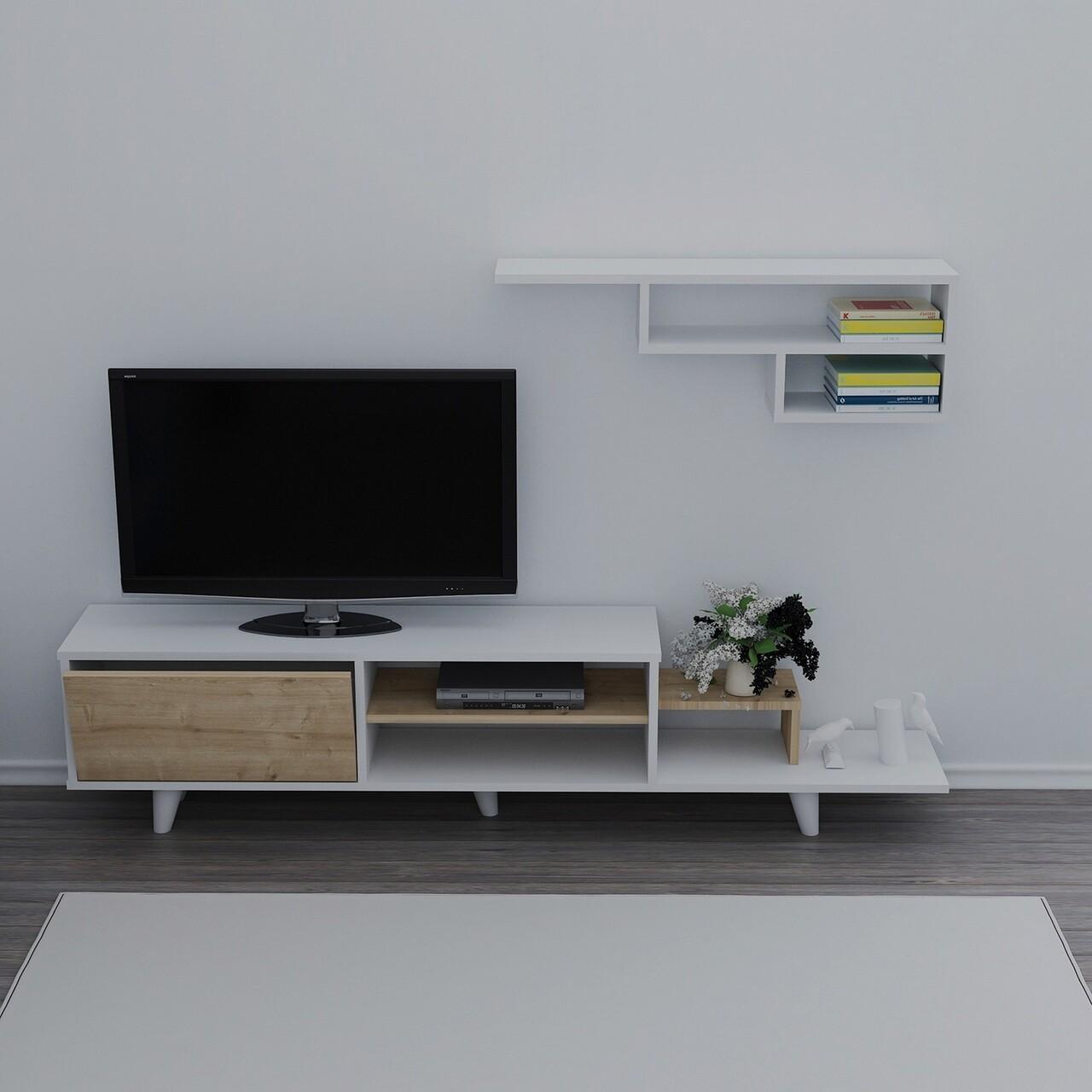 Comoda TV cu raft de perete Doruk, Maison in Design, 180 x 39.5 x 45 cm, alb/natural