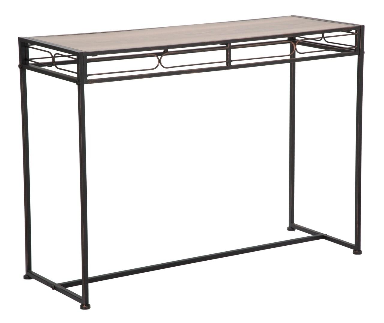 Consola Essential, Mauro Ferretti, 110 x 40 x 80 cm, fier/MDF, negru/maro