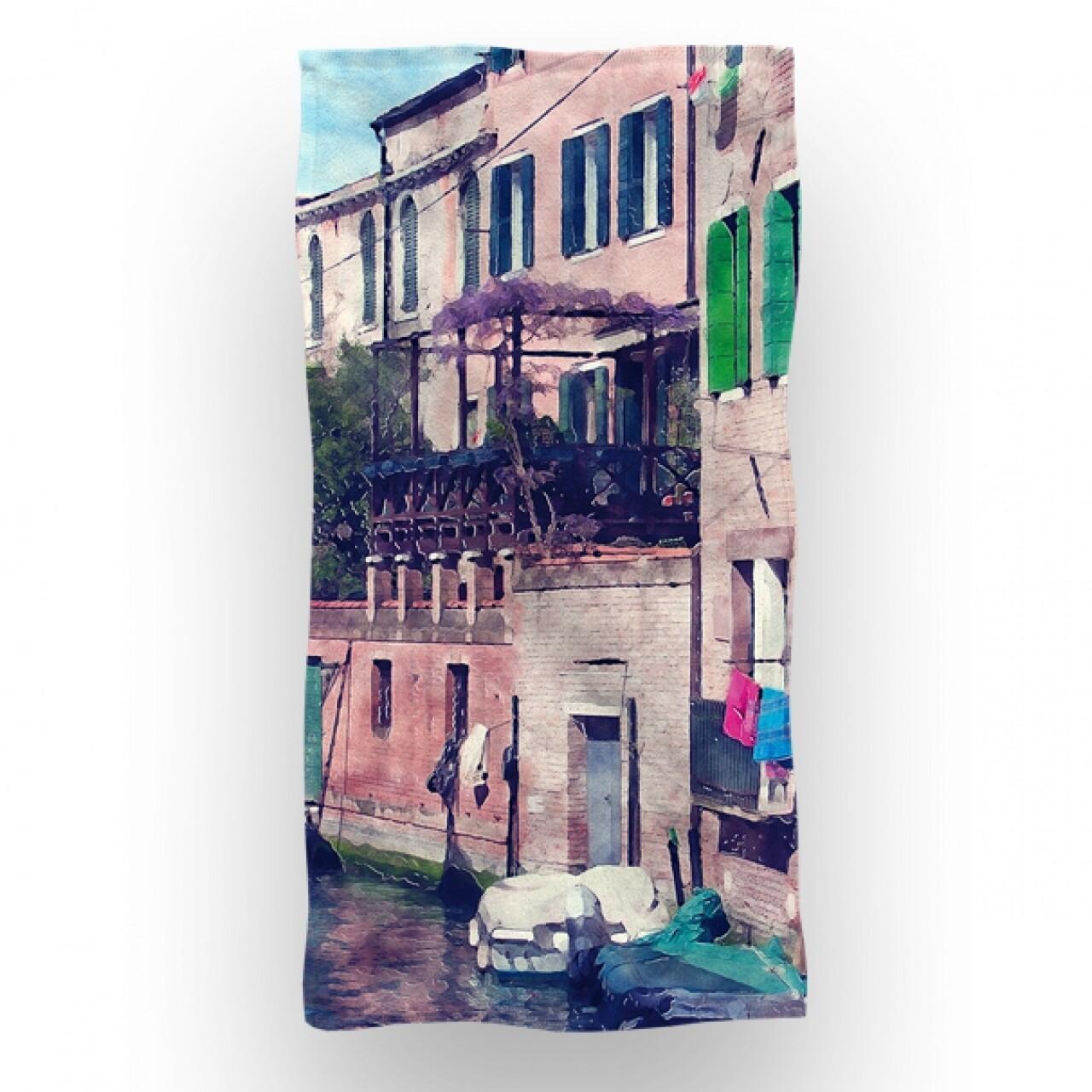 Prosop de baie si plaja Venice, Aglika, 70 x 140 cm, 70% bumbac, 30% microfibra, multicolor