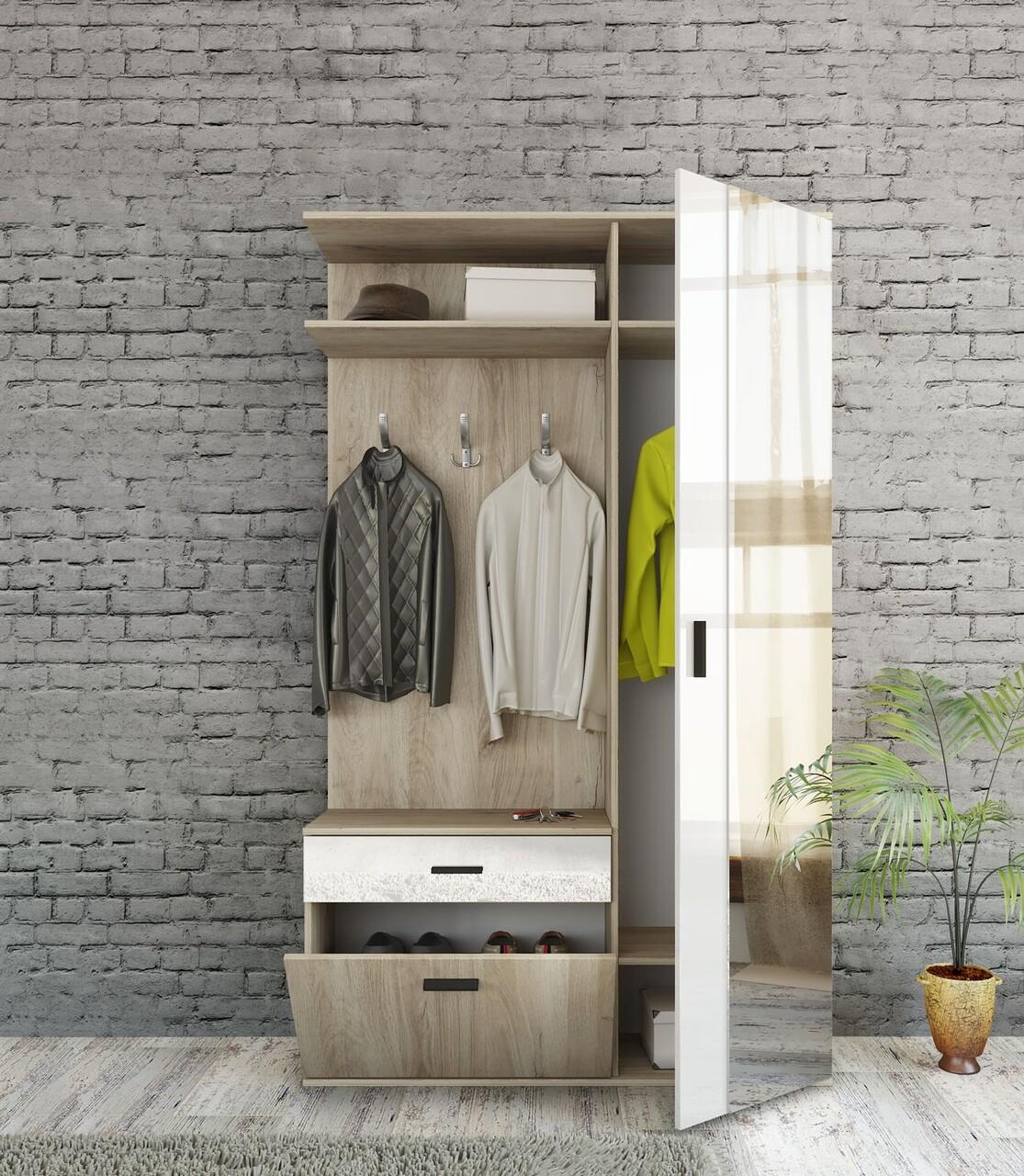 Dulap cu pantofar, cuier si oglinda, Bedora, City 4055, 120 x 35.5 x 199 cm, PAL, stejar/alb