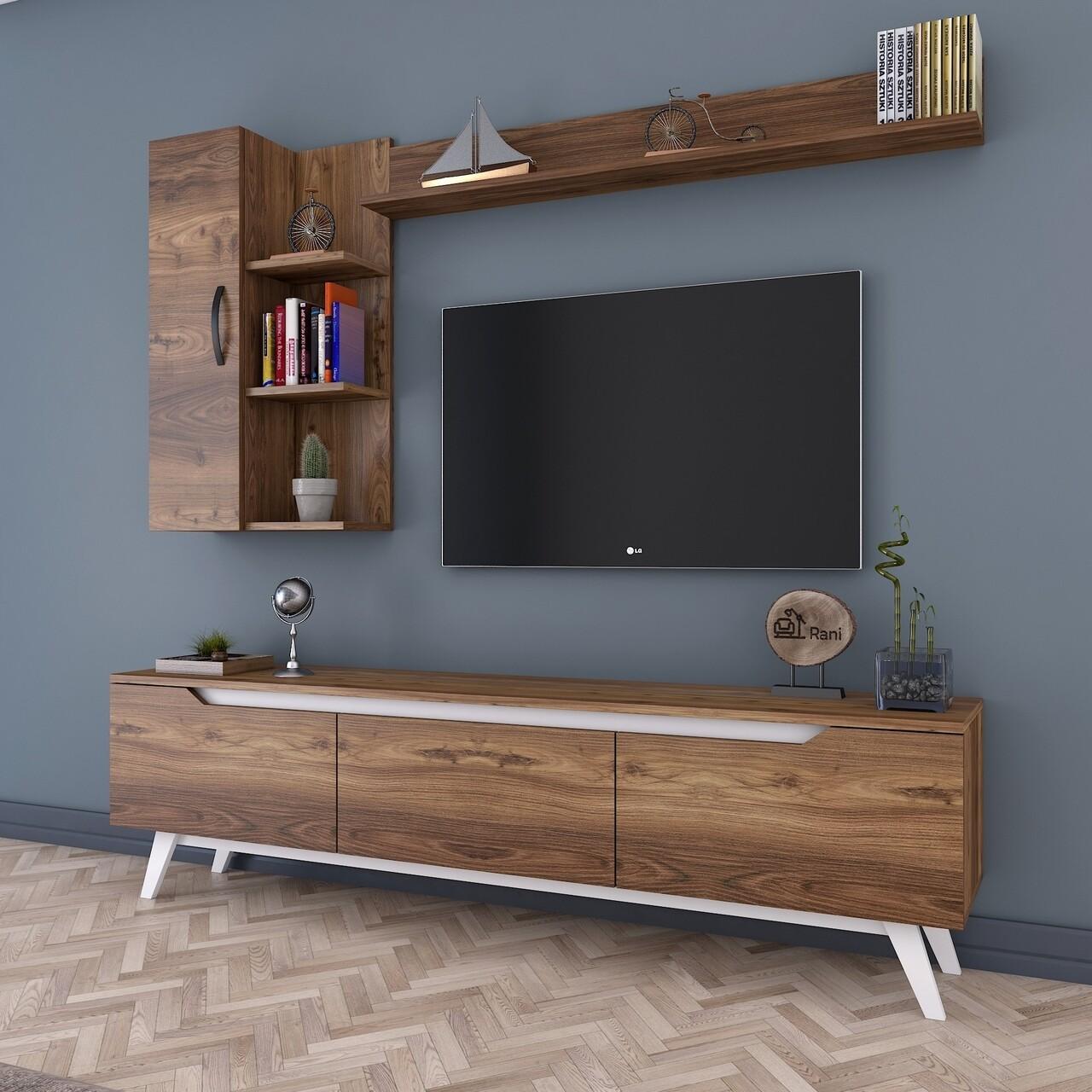 Comoda TV cu 2 rafturi de perete si cabinet M36 - 847, Wren, 180 x 35 x 48.6 cm/90 cm/133 cm, walnut/white