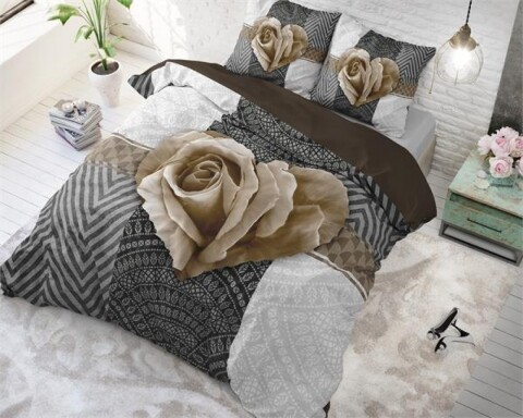Lenjerie de pat pentru doua persoane Garden Rose 2 Red, Royal Textile,100% bumbac