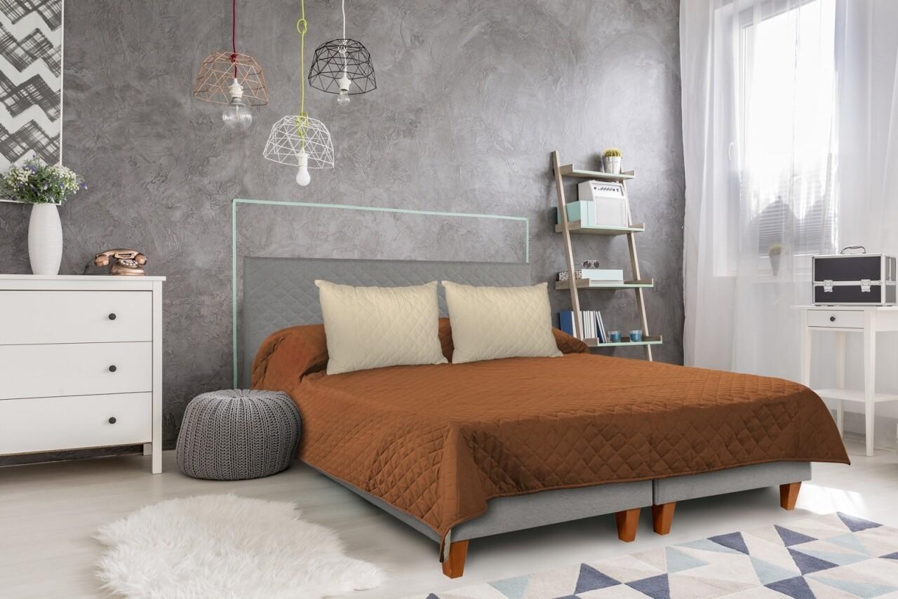 Cuvertura matlasata cu 2 fete Alcam, 210 x 220 cm, Teracotta/Vanila
