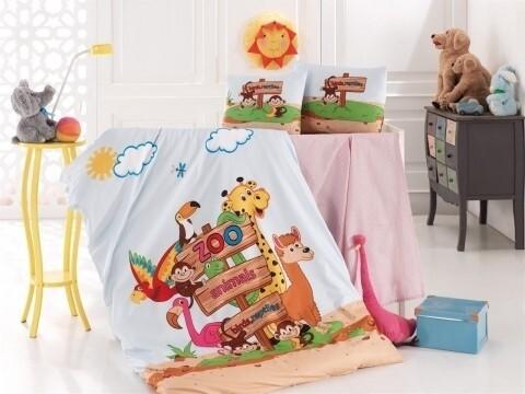 Lenjerie de pat pentru copii Zoo, Nazenin Home, 4 piese, 100% bumbac ranforce, multicolora